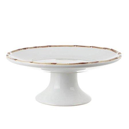 Porta Torta com Pé Bambu 34x34x14 cm Scalla Cerâmica