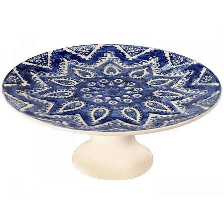 Porta Torta com Pé Bombain Azul 34x34x14 cm Scalla Cerâmica