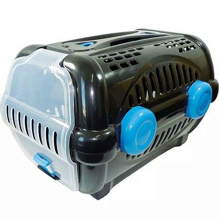 Caixa para Transporte Luxo N.2 Black com Azul Furacão Pet
