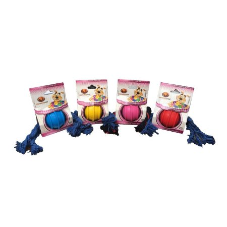 Brinquedo Bola Maciça Com Corda de 3 Nós 50 mm Furacão Pet