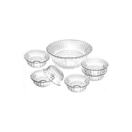 Conjunto de Sobremesa Glassy com 7 Peças em Vidro Fratelli