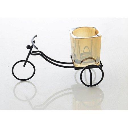 Enfeite Decorativo Bicicleta Preto e Dourado Bela Flor