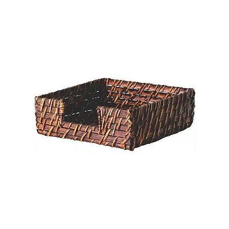 Porta Guardanapo Quadrado Marrom Rattan 18x18x6 cm Mundiart