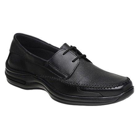 Sapato Confortável Cadarço Couro Preto Torani SLZ