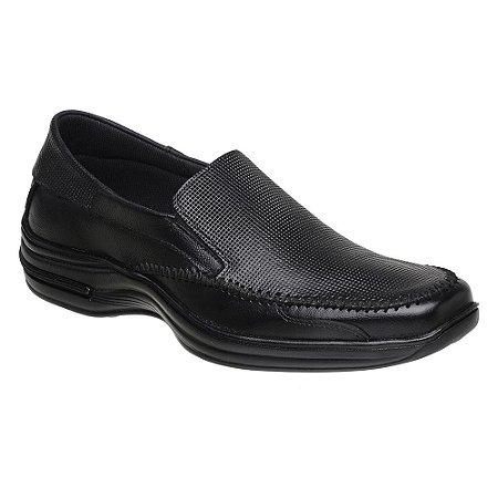 Sapato Masculino Confortável Couro Preto Torani SLZ