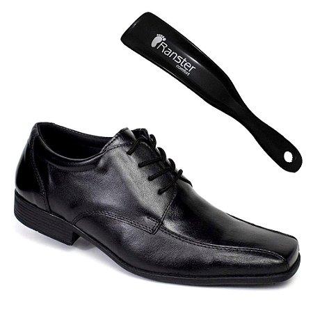 Sapato Social Ranster San Cley Cadarço Couro Preto + Calçadeira