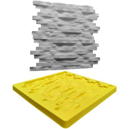 Forma Molde pra Gesso 3D e Cimento Silicone Modelo Pedra Mineira 29x29 - Esquadro Perfeito