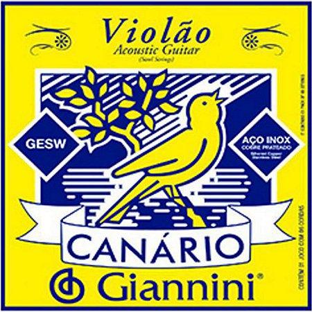 Jogo completo de cordas Aço para Violão Modelo: Canário Giannini