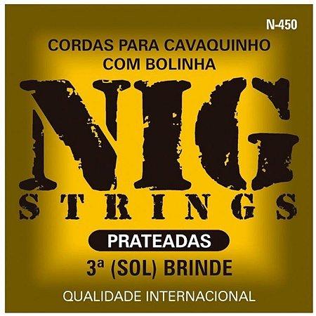 Encordoamento para Cavaquinho Nig N450 Prateado C/ Bolinha + Palheta
