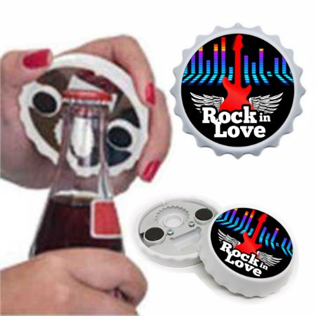 Abridor Imã de Geladeira no formato Tampinha com Adesivo Rock in Love