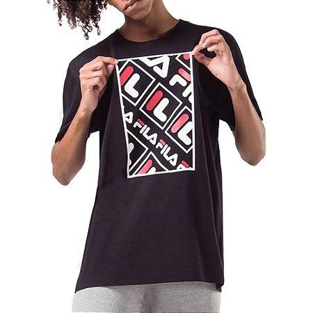 Camiseta Fila Canvas Logo Preto/Vermelho
