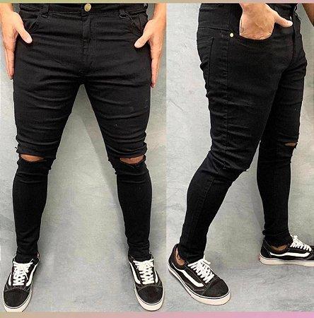 Calça Jeans Creed Rasgo Joelho Preta