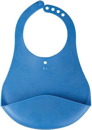 Babador impermeável de plástico com cata migalhas (Azul) - KaBaby - Cód. 1038A