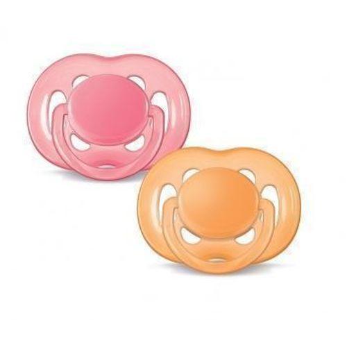 Chupeta Avent Freeflow 6 a 18 meses Dupla (pack com 2 uni) Rosa e Laranja - SCF178/24 - Philips Avent