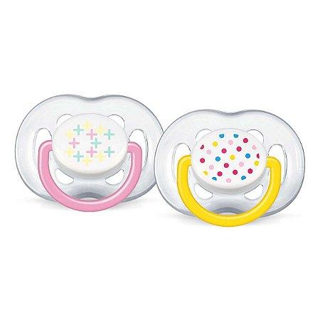 Chupeta Avent Freeflow Contemporânea 6 a 18 meses Dupla (pack com 2 uni) Rosa e amarela - SCF180/24 - Philips Avent
