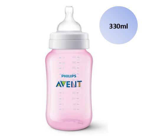 Mamadeira Avent Clássica Anticólica 330ml (Rosa) - SCF817/17 - Philips Avent