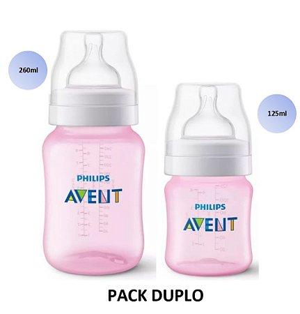 Mamadeira Avent Clássica Anticólica PACK DUPLO 125ml e 260ml (Rosa) - SCF809/36 - Philips Avent