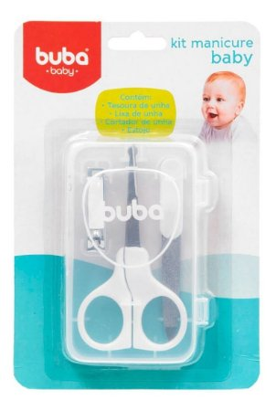 Kit manicure bebê com tesoura, lixa, cortador e estojo - Buba - Cód. 5245