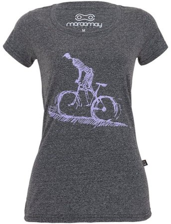 CAMISETA CASUAL FEMININA MÁRCIO MAY MOUNTAIN BIKE MOULINÊ PRETA