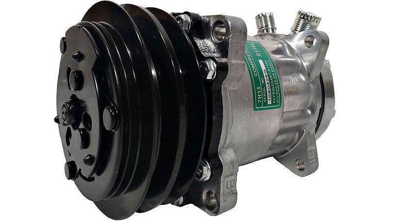 Compressor Ar Condicionado 7h15 12v Polia 2a Modelo 4627 Saída Vertical