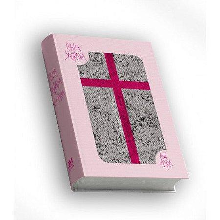 Bíblia Sagrada Ave Maria com Lantejoula - Rosa