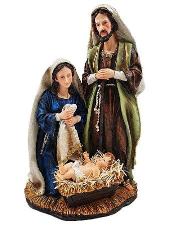 Presépio de Natal Sagrada Família 45 Cm - Resina Importado Texturizada