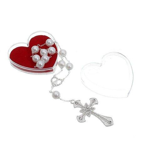 Dezena Noiva Perola 12 MM Prata Strass - Caixa Coração