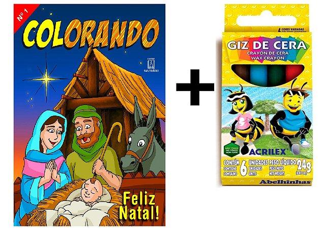 Livro Colorando Natal + Giz de Cera Grátis !!!