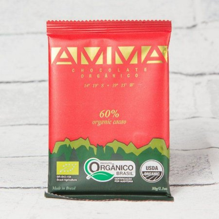 TABLETE AMMA CHOCOLATE ORGANICO 60% CACAU 30G