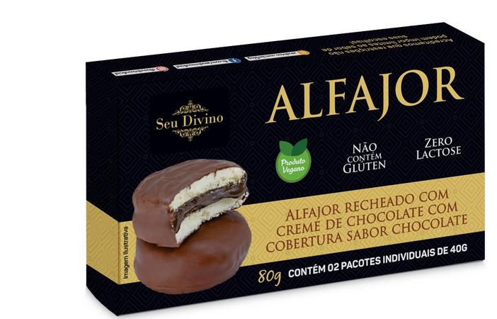 ALFAJOR VEG BRANCO COM CHOCOLATE SEU DIVINO 80G