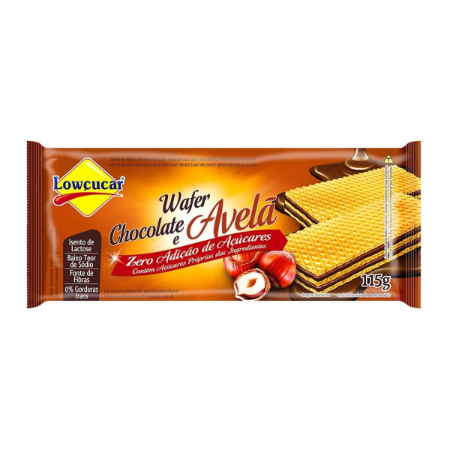 WAFER LOWCUCAR ZERO CHOCOLATE E AVELA 115G