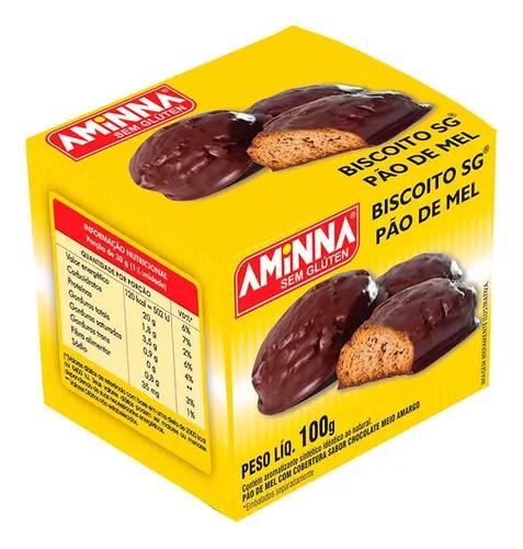 BOLACHA AMINNA COM CHOCOLATE SEM GLUTEN 100G