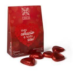Caixa sacolinha com mini coração de chocolate - 96G