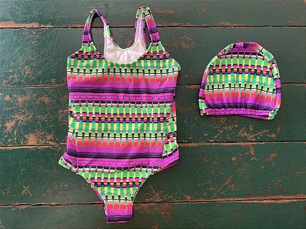 Maiô Pink e Verde Com Touca