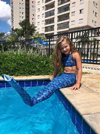 Cauda de Sereia Escama Azul