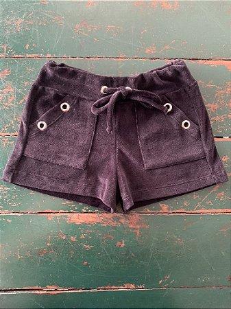 Shorts Ilhos Plush Preto
