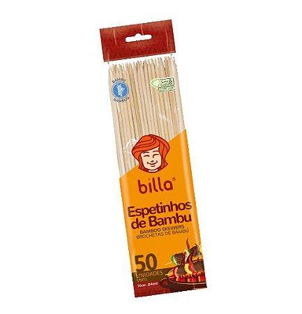 Espeto de bambu 30 cm - caixa com 100 pacotes contendo 50 unidades -  Billa