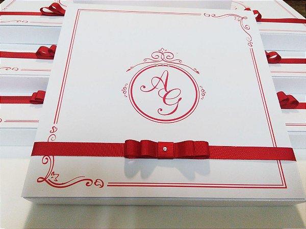 Convite Padrinhos Caixa - Vermelho e Branco