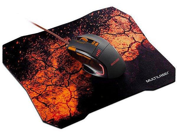 Mouse Com Fio Multilaser Mo256 Optico Gamer 3200dpi Preto e Laranja Com Mouse Pad Quickfire