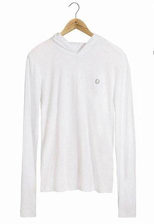 Camiseta Manga Longa Capuz Branca