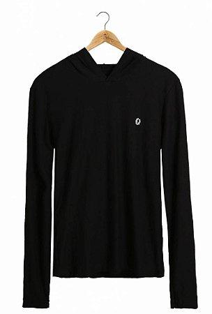 Camiseta Manga Longa Capuz Preta