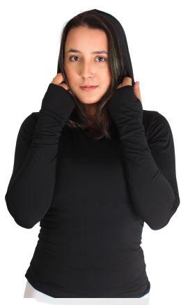Blusa feminina antiviral com efeito permanente com tecnologia AMNI®