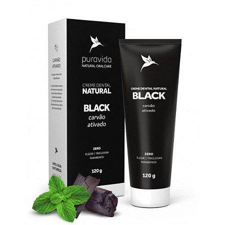 Creme Dental Natural BLACK (Carvão Ativado) 120g - Pura vida