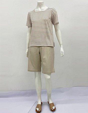 Blusa reta crepe listrada decote quadrado com fenda