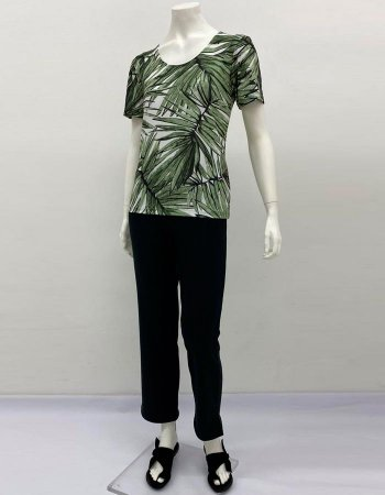 Blusa básica malha collete manga curta estampa Ramos
