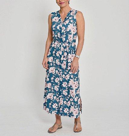 Vestido longo Malha Collete com vista inteira e botões estampa Peônias