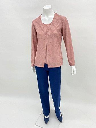 Twin set curto tricot Geométrico