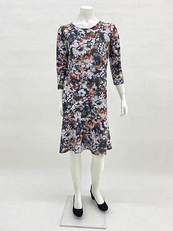 Vestido polielastano reto com babado manga ¾ estampa Texturizada