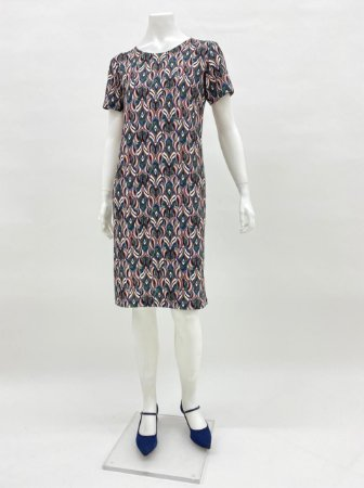 Vestido granulê básico estampa Plumas