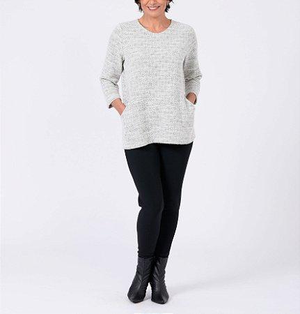 Blusa trapézio de Tweed com bolsos